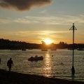 Sun going down on the Teign