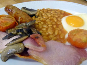 Full English breakfast at bed and breakfast in Devon Dawlish Warren