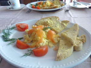 Smoked salmon and scrambled egg for breakfast at Sandays B&B